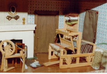 Lisa's dollhouse loom and spinning wheel, circa 1980.